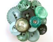 Button Brooch Felted Mint Evergreen Rhinestone