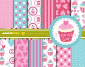 Cupcake Love Digital Scrapbooking Paper Set