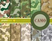 Camo Digital Scrapbooking Paper - COMMERCIAL USE Read Terms Below