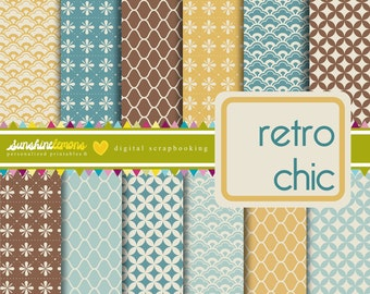 Retro Chic - Vintage Patterns Digital Scrapbooking Set - COMMERCIAL USE Read Terms Below