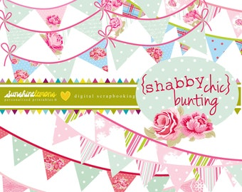 Shabby Chic Digital Bunting Set - 9 piece set - COMMERCIAL USE Read Terms Below