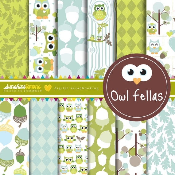 Owl Fellas - Green Baby Owls Digital Scrapbooking Paper Set - COMMERCIAL USE Read Terms Below