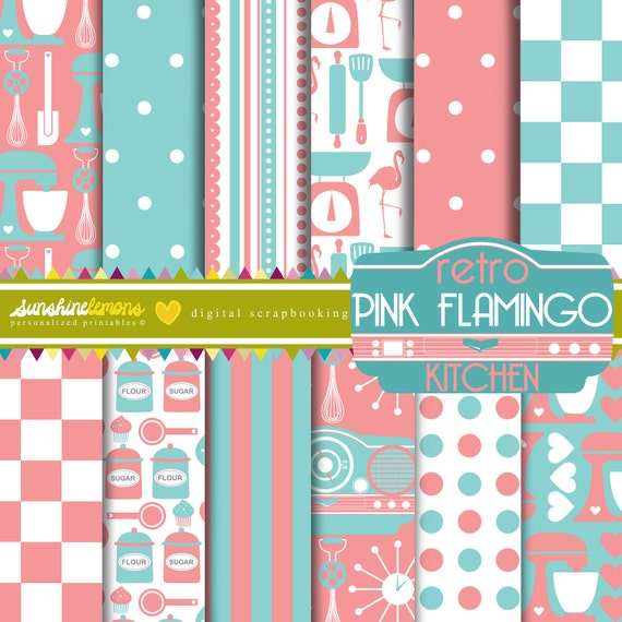 Retro Pink Flamingo Kitchen Digital Paper Pack Set Of 12