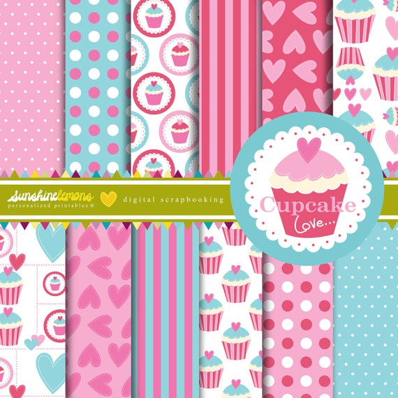 Cupcake Love Digital Scrapbooking Paper Set - COMMERCIAL USE Read Terms Below