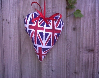 Shabby chic lavender hanging heart in Union Jack fabric