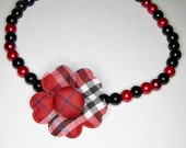 DOGGY NECKLACE - Punky Black & Red Plaid Flower