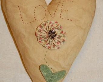 Love Stitched with Flower Heart Pillow