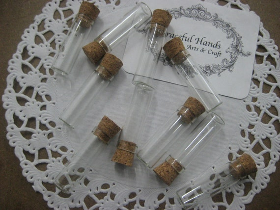 5 pcs Mini Test Tube Bottle with Cork Cover - 13x40mm - Very Cute - Item Code. 1340 - Excellent for beads, medicine, gems storage