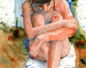 Female Nude Art, Signed artistic nude PRINT from watercolor figure painting, art nude