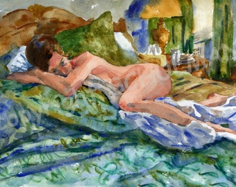 nude female figure, Female Nude Art, Signed artistic nude PRINT from watercolor painting, Reclining nude woman