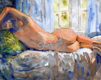 Nude Figure, Female Nude Art, Signed artistic nude PRINT from watercolor painting