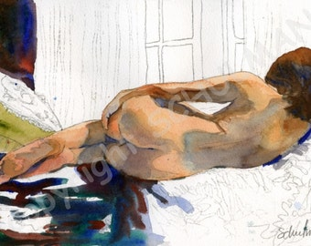 nude figure drawing, Female Nude Art, Signed artistic nude PRINT from watercolor painting, figurative art
