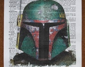 "Boba Fett Starwars Dictionary print, Mixed Media art, Vintage upcycled page book art print size 6"" x 8.5 """