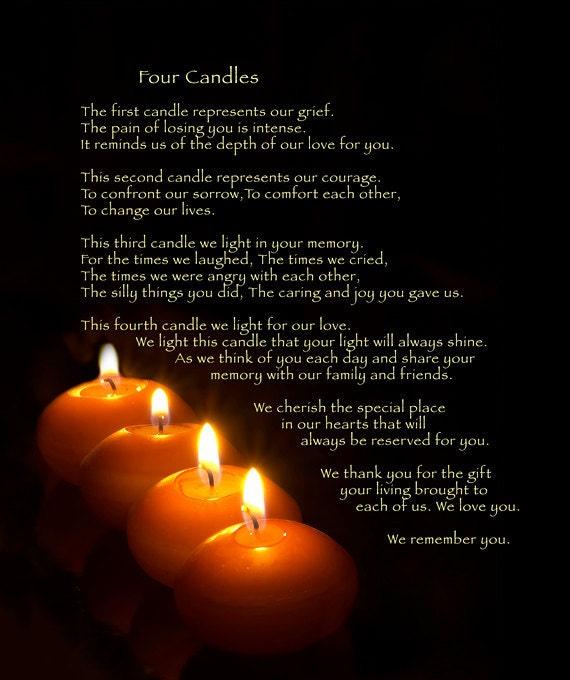Fleece Blanket Memorial 4 Candles Soft Blanket or Throw
