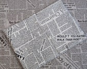 LF001 - Linen Cotton Blended Fabric - Old Newspaper (black) - 1/2  yard