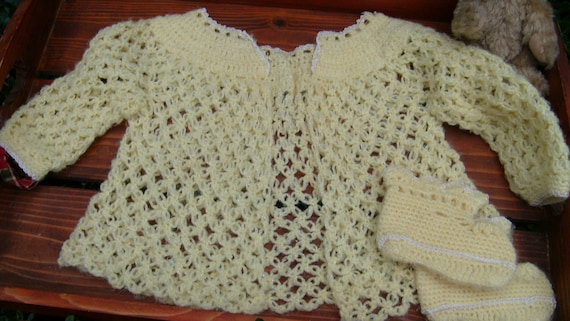 Baby Sweater & Booties, Hand Crocheted Baby Clothes