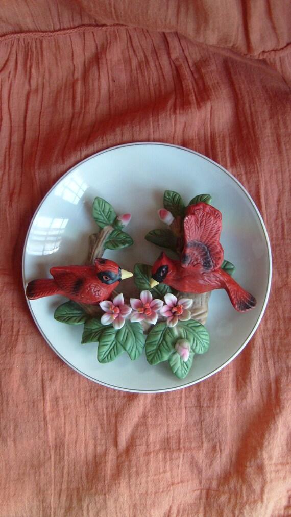 Lefton Cardinal Plate, Cardinals on Apple Blossom Branch Dish