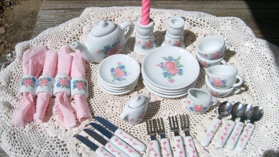 Childs Porcelain Luncheon Set, 38 Pc Keywick Ltd Pink Rose Tea Set