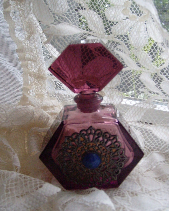 Purple Crystal Czech Perfume Bottle with Dauber, Cubist Art Glass with Filigree Jewel