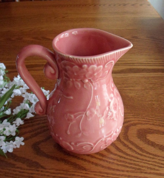 Bordallo Pinheiro Pink Morning Glory Pitcher, Portuguese Water Pitcher
