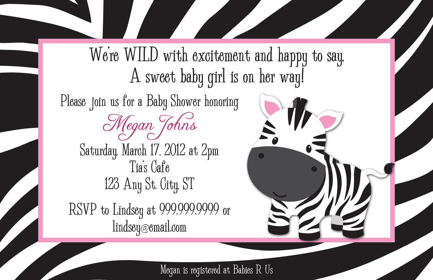 Zebra Baby Shower Invitations and get inspiration to create nice invitation ideas