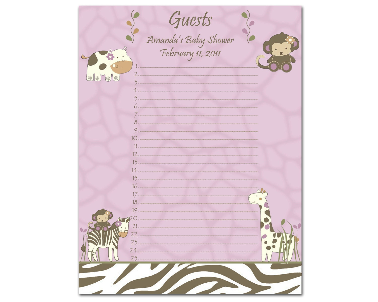 Wedding Guest List Etsy baby shower gift list printable – Printable Guest List Template