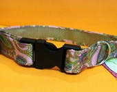 "Pink & Green Paisley Collar- Size Large- 13""-17"""