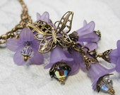 CASCADING LAVENDER romantic Victorian style necklace with Swarovski and lucite flowers
