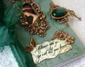 WHEREVER YOU GO altered Victorian book blank mini journal for poetry, musings and display