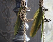 GYPSY'S KISS romantic vintage fantasy inspired gypsy feather dangle earrings, free gift boxing