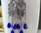 NIGHT FAIRIES romantic vintage fantasy inspired fairy earrings with cobalt blue crystals, free gift boxing
