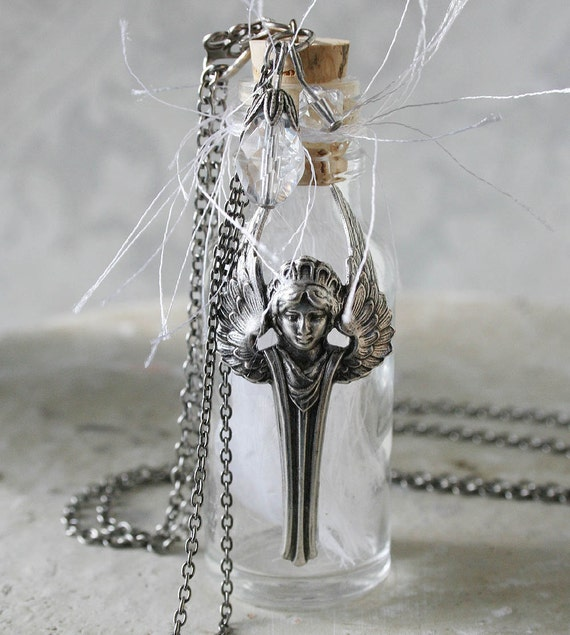 ANGEL WINGS in a JAR glass altered bottle vial necklace with white feathers and antiqued silver angel