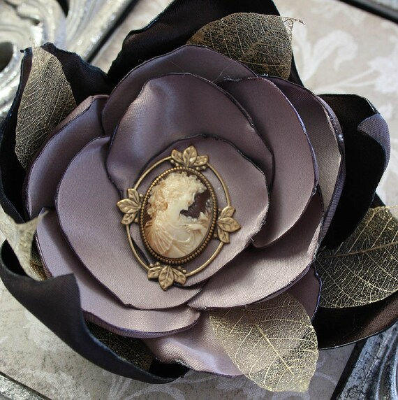 VICTORIAN LADY large singed satin and leaf brooch flower with vintage cameo center, perfect for your costume or photo shoot