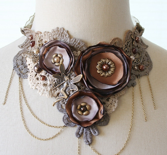 TEA TIME romantic Victorian style lace bib statement necklace in shades of brown, ooak