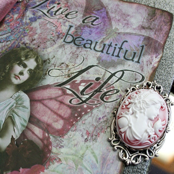 BEAUTIFUL LIFE altered collage Victorian journal, poetry book or sketchbook, hardbound and one of a kind