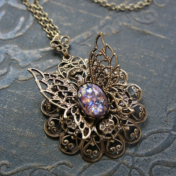 MIDSUMMERS DREAM romantic Victorian style butterfly necklace with amethyst glass opal