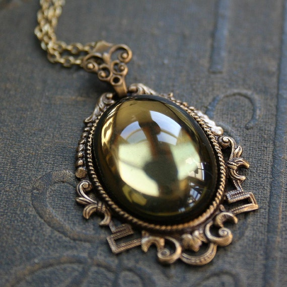 LADY OF SHALOTT Victorian Renaissance Medieval necklace with vintage glass stone in aged brass