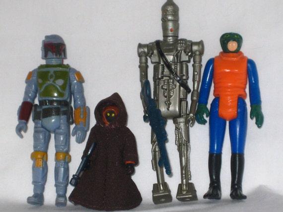 Vintage Star Wars Cantina Patrons and Empire Strikes Back Bounty Hunters Set: Jawa, Walrusman, Boba Fett, IG88