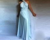 Blue Convertible Bridesmaid Dress/ Made to Measure Maxi Dress/ Plus Size Wrap Dress / Multi Way Bridesmaid Dress