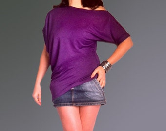 Wide Asymmetric Short Sleeved Blouse/Top made from Purple Cotton with Elastane/ CH010-1