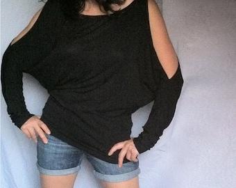 Cutout Shoulders Top / Wide Loose Blouse / Soft Cotton Spandex CH024