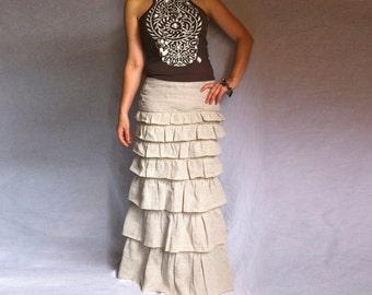 Ruffled Ivory Skirt Bohemian Long Skirt Layered Maxi Linen Skirt Sexy Long Skirt Made to Meausre Skirt A line Layered Skirt Plus Size Maxi