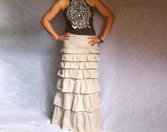 Linen Maxi Skirt Ivory Bohemian Maxi Layered Ruffles Skirt A Line Linen Maxi Skirt Layered Ruffles Maxi Skirt Italian Linen A Line Maxi