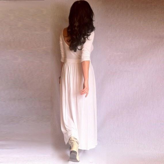White Dress A-Line Cutout Back Italian Jersey