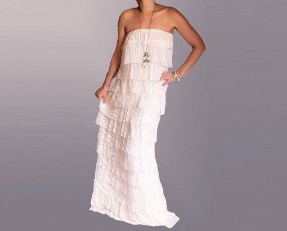 Fashion Maxi Dress Off the Shoulder Layered Ruffles Cotton Elastane and Sheer Fabric