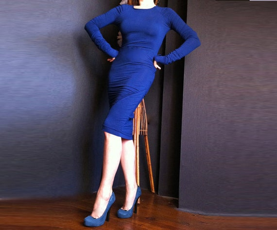 Sexy Deep Blue Dress made from Cotton with Lycra DR009