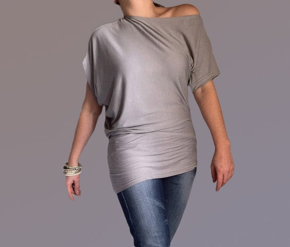Wide Asymmetric Short Sleeved Blouse/Top made from Grey Cotton with Elastane
