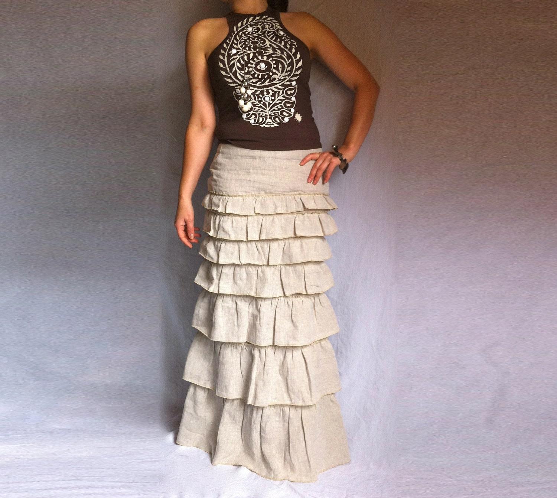 Ruffled Ivory Skirt Bohemian Long Skirt Layered Maxi Linen