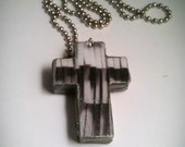 Black and Gray Fringe Wood Cross Necklace, Black White and Silver Fringe Wood Cross Pendant, Upcycled Cross Necklace