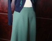 Sage Green A-Line Skirt with Pinstripes size small/xsmall
